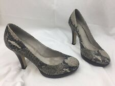 Ladies OFFICE Black & Grey Snake Design Leather High Heel Court Shoes Size 8