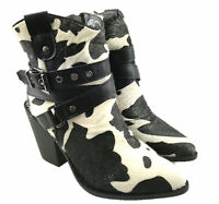 LADIES FAUX SUEDE/SYNTHETIC ZIP UP BUCKLE DETAIL COWBOY ANKLE BOOTS BLACK UK 3-8