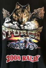 2008 Sturgis Rally T Shirt Black XXL Wolves Motorcycles Mount Rushmore Eagle