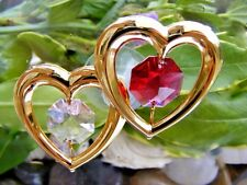 Red & Pink Twin Heart Sun Catcher Swarovski Crystal Elements Crysto Craft