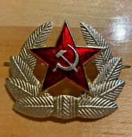 VINTAGE USSR SOVIET RED STAR ARMY HAT BADGE RUSSIAN
