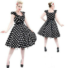 BLACK POLKA DOT TEA DRESS by HEARTS & ROSES LONDON ALTERNATIVE 50's VINTAGE