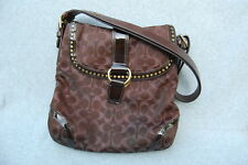 "Coach Handbag Brown Metalic Plum HO868-F12852 Shoulder Strap Brass Hdw 12"" x 12"""