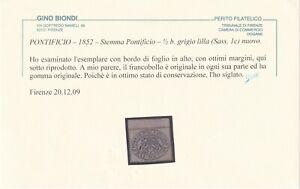 1/2 b. GRIGIO LILLA SASS 1c MLH* BORDO FOGLIO FRESCO OTTIMI MARGINI CERTIFICATO