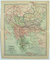 Original 1893 Map of Turkey in Europe by Dodd Mead Balkans Bosnia Greece Antique