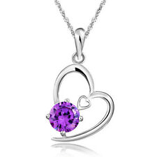 925 Sterling Silver Swarovski Elements Crystal Amethyst Pendant Necklace Gift G3