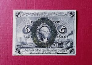 1863 U S second issue 5 cents fractional Currency