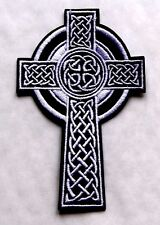 CELTIC CROSS Patch Embroidered Iron Sew On christian Badge biker Ireland