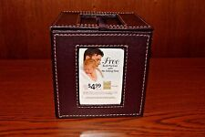 Leather Photo Picture Frame Cube Freestanding with Storage Cubby Brown