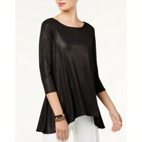 ALFANI NEW Women's Black Metallic Swing High-low Casual Shirt Top TEDO
