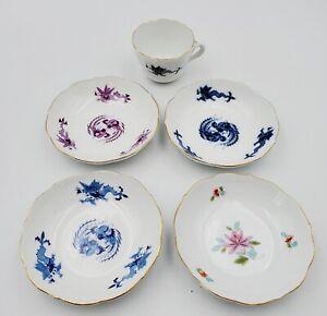 "Vintage Meissen Demitasse Tea Cup & (3) Dragon (1) Floral Pattern 4-1/4"" Saucers"