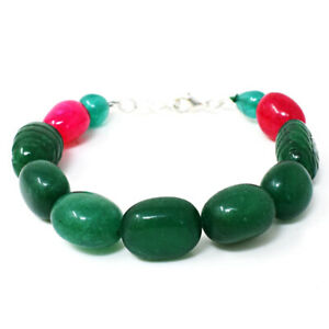 255.00 Cts Earth Mined 7 Inches Long Ruby & Emerald Beads Bracelet NK-02E265