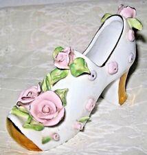 Vintage Decorative Porcelain Shoe Pink Roses