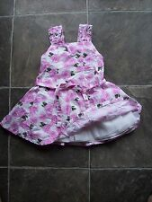 Girl's Barbie White, Pink & Green Floral Summer Cotton Dress Size 3 VGUC