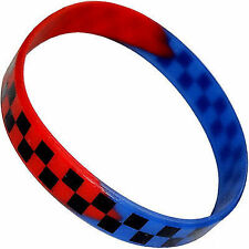 Black Red Blue Checked Rubber Silicone Wristband Bracelet Bangle Mans Woman Kids