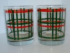 2Mcm Georges Briard Tartan Plaid Red Green Christmas Old Fashion glasses Signed