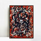 """Framed Abstract Artwork Free Form by Jackson Pollock Giclee Art Print 28""""x40"""""""