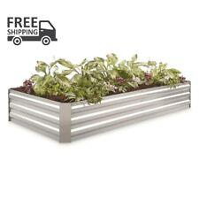 Large Galvanized Steel Planter Box Garden Patio Plants Flower Veges Chrome Decor
