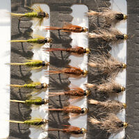 18 Gold Head Nymphs Trout Fly fishing Flies GRHE, Pheasant Tail & Rough Olive