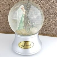 Thomas Kinkade Relgious Snow Globe Lord Love Silver Prayer for Peace Music Glass