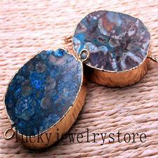 Wrapped Blue Natural Ocean Jasper Oval Pendant Bead W070104(Random Send)