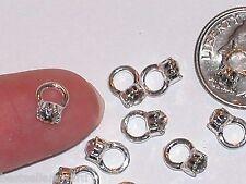 1pc Miniature TINY little crystal engagement wedding Ring Pendant charm 6x8mm *~
