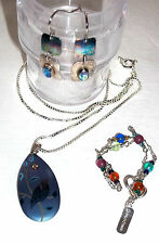 Pre-Owned AUTHENTIC HOLLY YASHI BIRD CUSTOM EARRING NECKLACE BRACELET SILVER SET