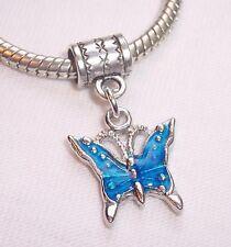 Blue Enamel Butterfly Bug Garden Dangle Bead fits Silver European Charm Bracelet