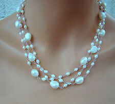 U&C Sundance 3 strands of Wired White Pearls & .925 Sterling Silver Necklace