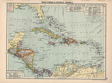 1930 MAP ~ WEST INDIES & CENTRAL AMERICA ~ MAIL STEAMSHIP LINES CUBA JAMAICA