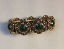 Wide Stretch Bracelet Signed Lc Beautiful Green Stone & Gold Tone