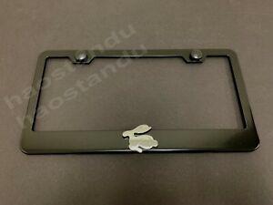 1x RABBIT 3D Emblem BLACK Stainless License Plate Frame RUST FREE + ScrewCaps