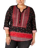 Style & Co. Womens Peasant Top Black Red 2X Plus Knit Floral Split-Neck $49 164