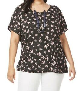 PLUS SIZE LADIES NEW WITH TAGS BEME BIRD PRINT CROSS BACK TOP SIZE M