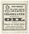 Antique TAYLOR S CELEBRATED ELECTRIC OIL Quack Medical Cure ADVERTISING HANDBILL
