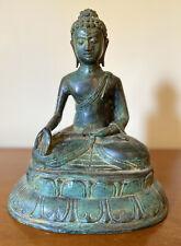 Antique Asian Chinese Buddha Sculpture Metals Galvanized Bronze Copper VTG RARE