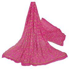 Sanskriti Vintage Pink Heavy Dupatta Pure Georgette Silk Hand Beads Ethnic Stole