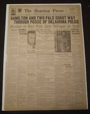 Vintage Houston Newspaper, July 23, 1934, Outlaw John Dillinger Killed