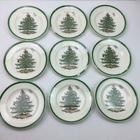 Vintage Spode Christmas Tree Set 9 Plates Handpainted Chipped Porcelain China