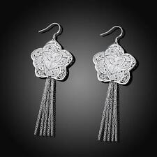 beautiful Fashion sterling Silver Cute women charm flower pretty Earring jewelry