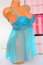NWT Victoria's Secret Lingerie Bustier Flyaway Babydoll VS Push-up 32D 3DNV