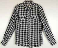 Hudson & Barrow Mens S Black Checkered Plaid Hipster Button Down Shirt