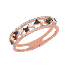 Womens 0.37CT 14K Rose Gold Black And White Baguette Round Cut Diamond Ring Band