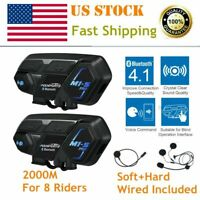 2PCS M1-S Pro Motorcycle Intercom 2KM Bluetooth HiFi Headset Interphone 8 Riders