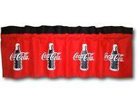 Custom Coca Cola Coke Red Fabric Blackout Valance 14x42 Retro Curtain Soda Pop