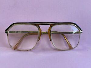 Vintage Dior Monsieur Aviator Eyeglass Sunglass Frame Austria Gold & Brown R10