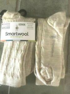 Lot of 2 Pairs: Smartwool Cable II Merino Wool Crew Socks Moonbeam Heather M