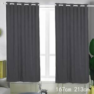 "One Dark Grey Thermal Blackout Eyelet Door Curtain 66x84"" Single Panel Tieback"