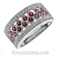 Diamond & Ruby Half Eternity Wedding Ring 1.20ct F VS set in 18ct White Gold