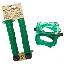 Odyssey Combo Aaron Ross Grips and  Twisted pedals Clear Lime! BMX
